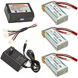 HOBBYTIGER Upgrade MJX X101 Lipo Battery 7.4V 1200mAh 30C (3 PCS) + AC Balance Charger +3in1 Charging Cable Quadcopter Parts