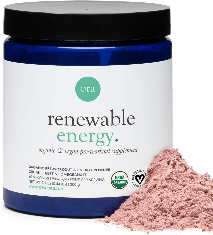 Ora Organic Natural Pre Workout Powder - Vegan Energy Supplement, Organic Beet Powder Blend Provides Jitter-Free Energy Boost & Focus, for Women & Men - Pomegranate Beet Flavor, 20 Servings