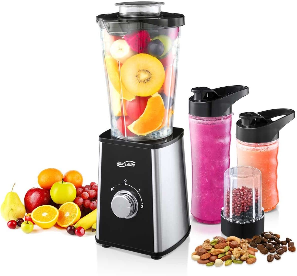 Housmile Smoothie Blender, 7-Piece Countertop with 300 Watt Base, High-Speed for Shakes and Smoothies Ice, Ice, White
