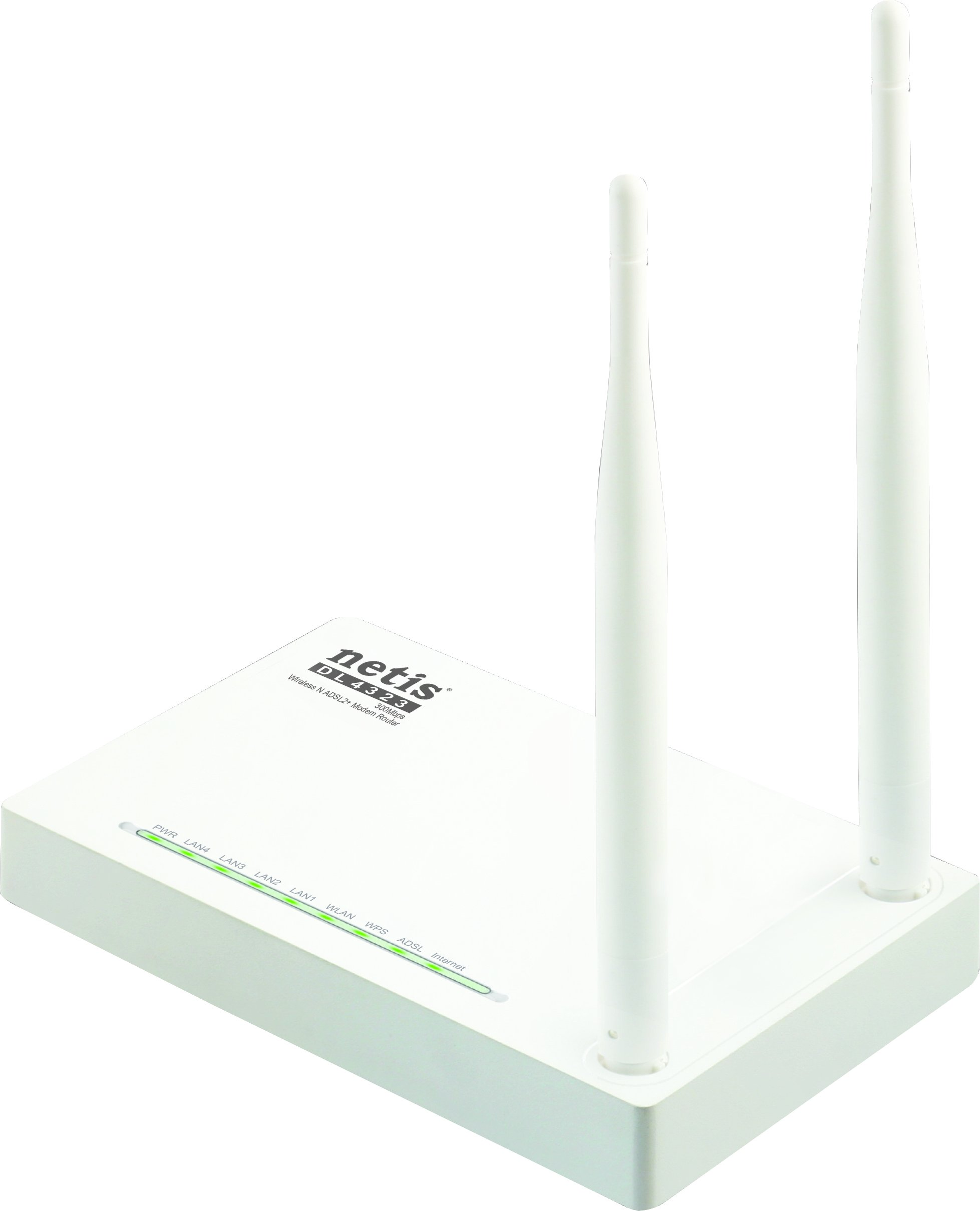 Netis DL4323 N300Mbps Wireless ADSL2+ Modem Router, 2.4Ghz, 802.11b/g/n, Dual 5dBi High Gain Antennas by Netis