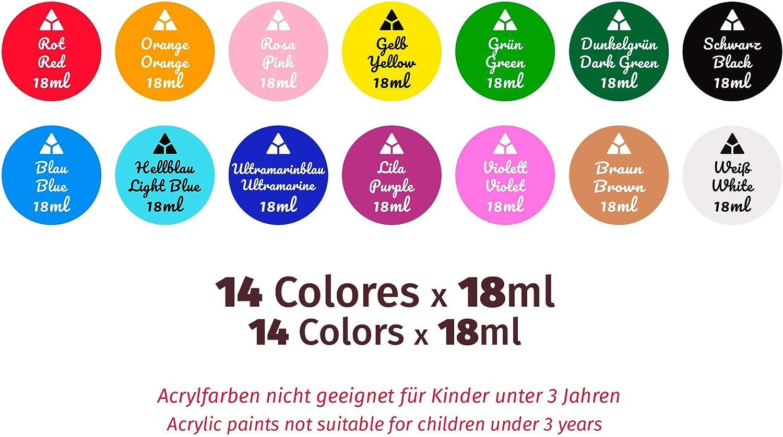 Stoff Ton 6 Pinsel und Malerleinwand Holz 3 St/ück ungiftige Acrylfarben f/ür Kinder und Erwachsene 12 leuchtende Farben Artist Acrylfarben-Set perfekt f/ür Keramik