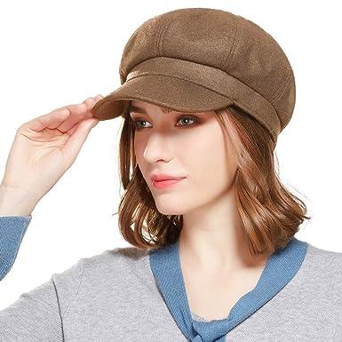 79542b0e WELROG Women Visor Beret Newsboy Hat - Wool Blend Octagonal Cap Adjustable  Beret Hats(Black) (Dark Coffee): Amazon.co.uk: Clothing