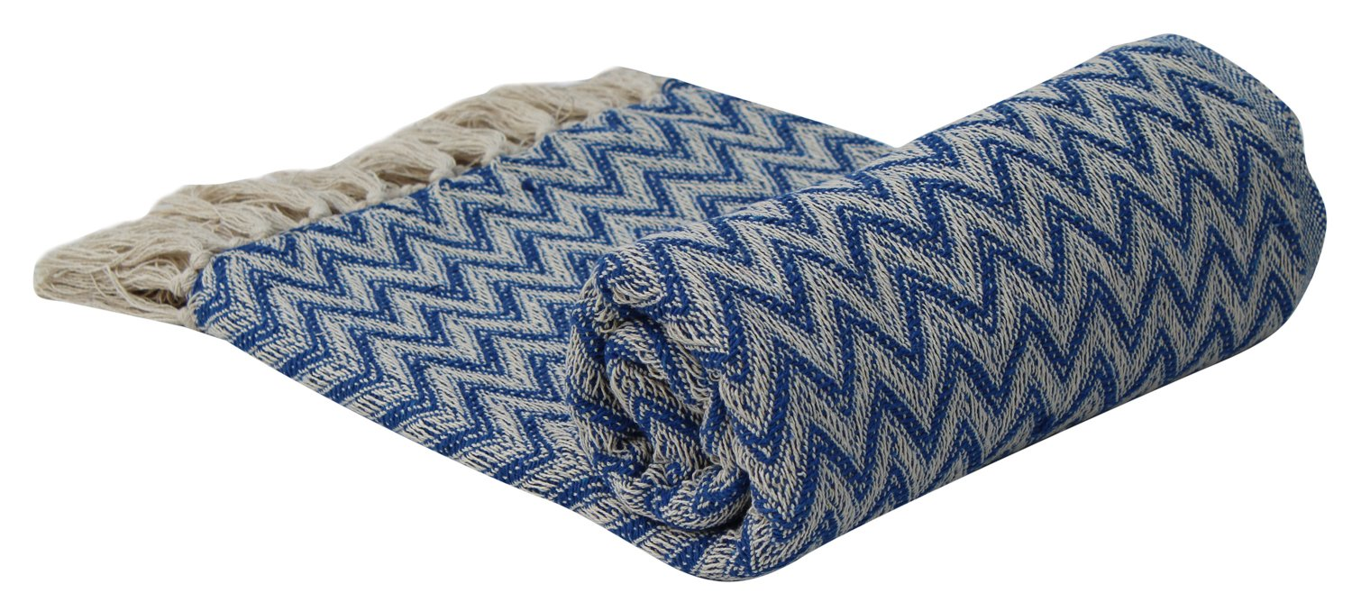 SouvNear Soft Cotton Throws Throws - 157 x 132 cm Hand-Woven 100% Cotton Throw Blanket Blue & White - Reversible with Tassels Throws for Couch Sofa Chair - Home Decor Furnishings - Prime Deals Today