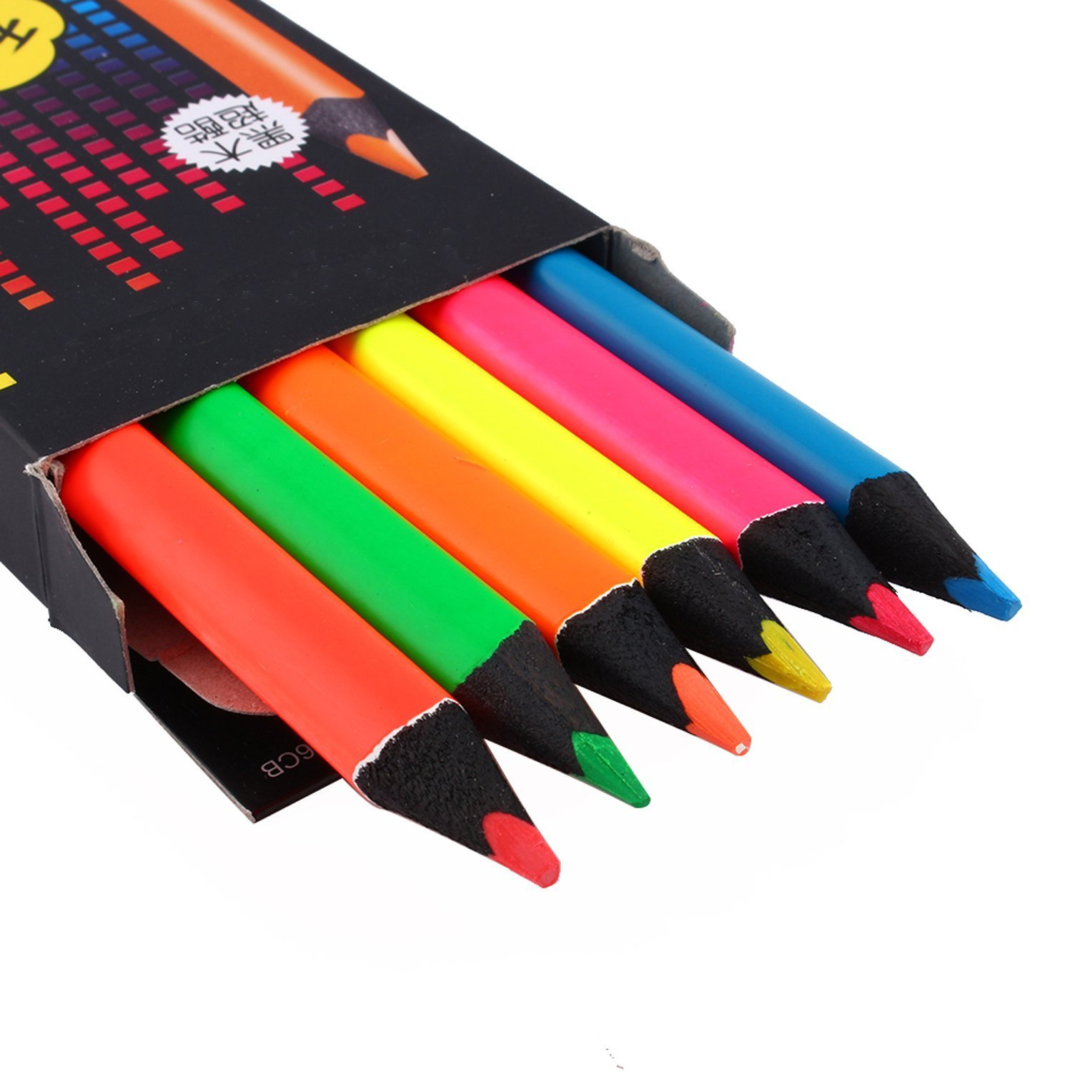 ZJchao Fluorescent Colored pencils Set//Highlighter Pencil for Writing Sketching Inkjet,paper,copy,fax Perfect for the Classroom and Craft CornerIncludes Sharpener Pack of 6