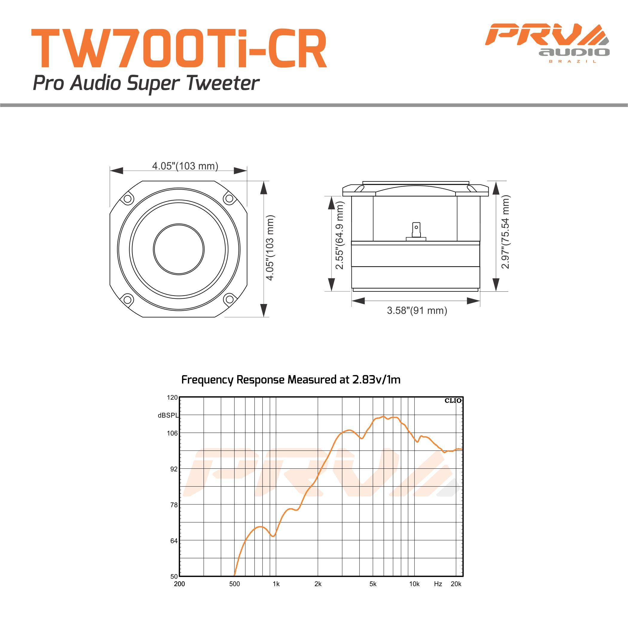 PRV Audio TW700Ti-CR Titanium 4'' Chrome Bullet Super Tweeter 8 ohms 1.5'' VC Pro Audio High Frequency Driver 107dB 120 Watts RMS – Built-in Polyester Capacitor