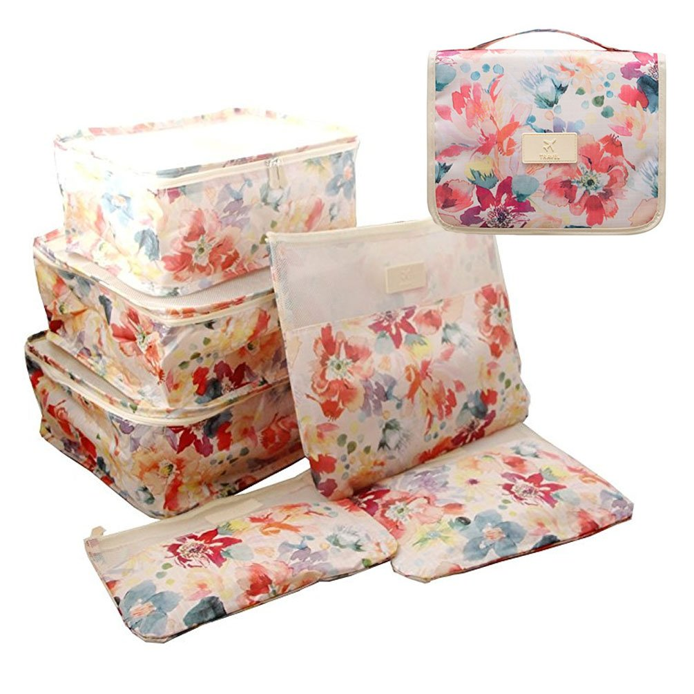 SamTaiker 7 Set Travel Organizer Bag System, 3 Packing Cubes + 3 Pouches + 1 Toiletry Organizer Cosmetic Bag (Summer Flower)