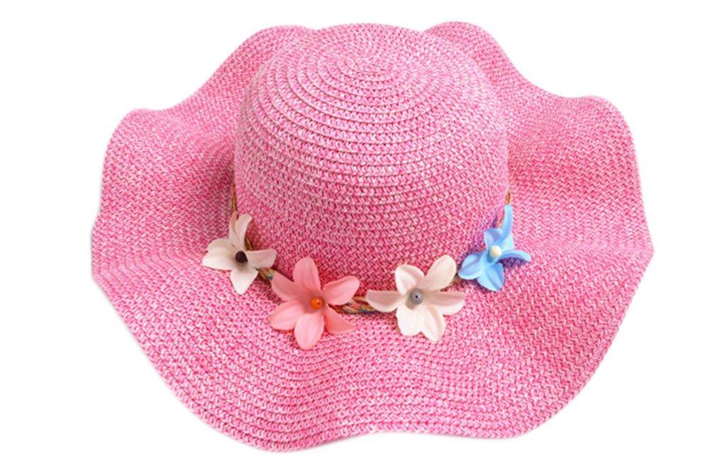 Monbedos Kids Girl Straw Sun Hats Floral Cap Straw Hat Beach Hat Wide Brim Adjustable Packable Sun Cap (Pink)