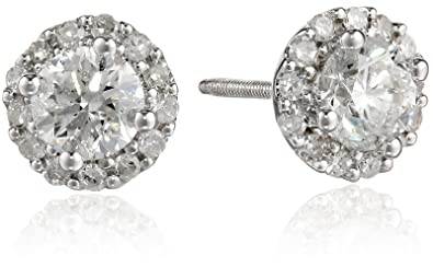 3fceb9b6d Image Unavailable. Image not available for. Color: 14k White Gold Diamond  Stud Earrings ...