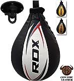 RDX Speed Ball Boxing Genuine Leather MMA Muay Thai Training Punching Dodge Striking Bag Kit Hanging Swivel Workout