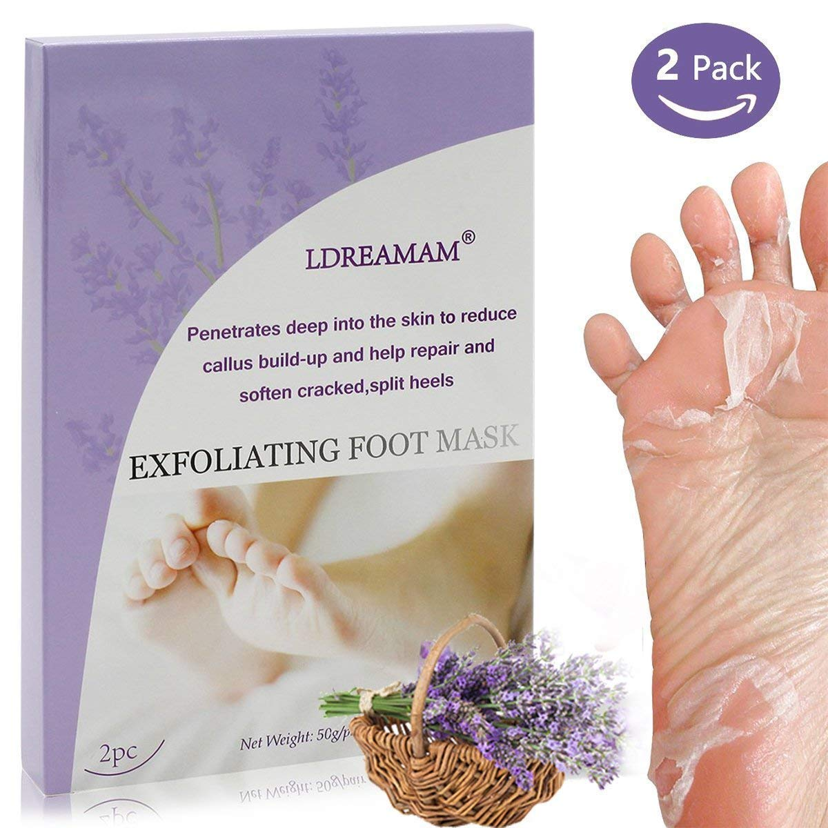 Foot Peel Mask, Baby Foot Exfoliating, Foot Peeling Socks, Feet Peeling away Calluses Dead Skin Remover Foot Exfoliator Gel Socks with Natural Lavender Extract Make Your Feet Baby Soft - 2 Pack LDREAMAM