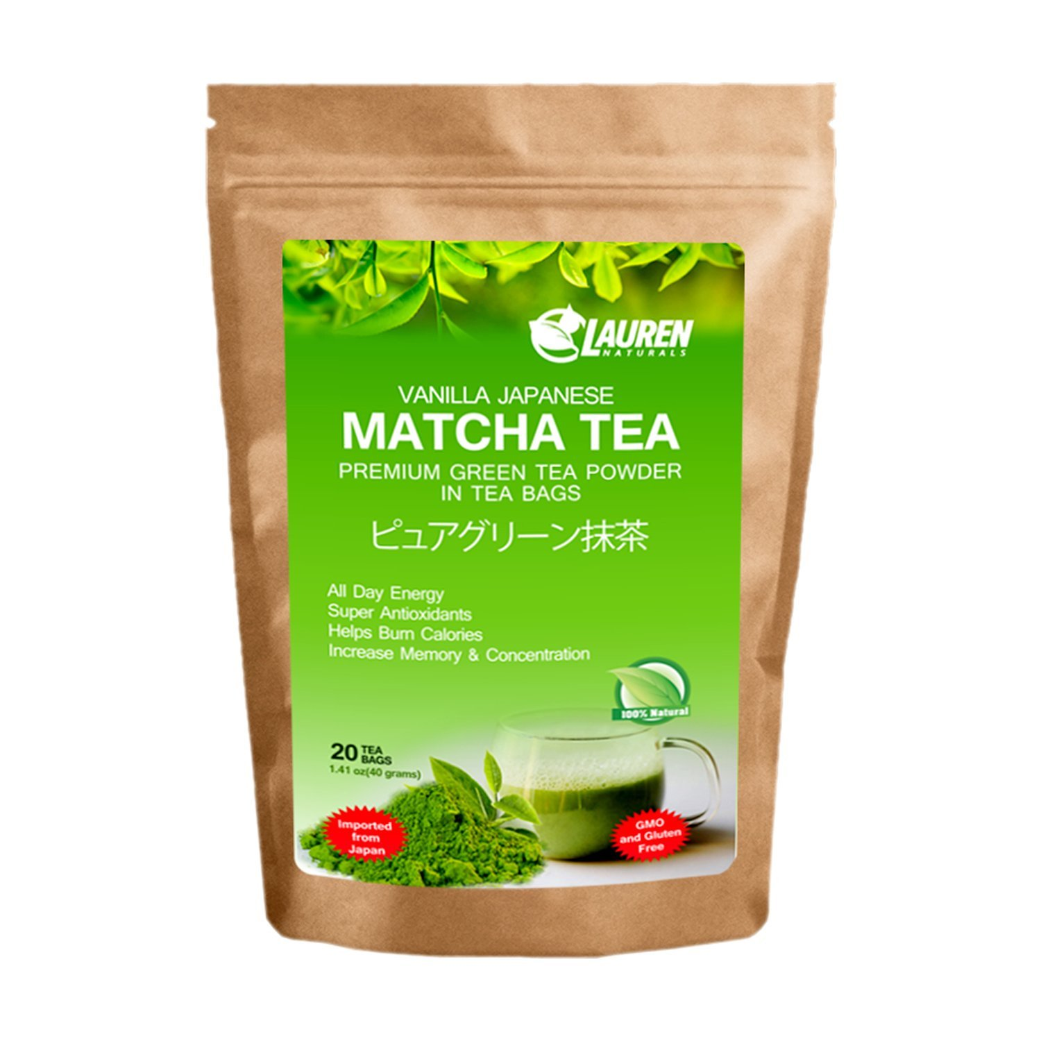 Vanilla Flavored Matcha Powder TEA BAGS: Imported Japanese Organic Matcha Powder in Tea Bags by Lauren Naturals: Great for - Risk Free Full Money Back Guarantee