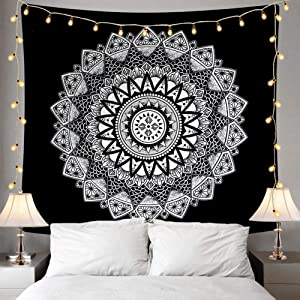"Ucio Wall Tapestry, Indian Hippie Bohemian Psychedelic Peacock Mandala Wall Hanging Bedding Tapestry (Black and White/51.2"" x 59.1"")"