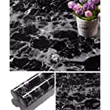 Yancorp 17.8 inch x78.7 inch Black Wallpaper Marble Counter Top Film Vinyl Self Adhesive Wallpaper Peel and Stick Wallpaper (