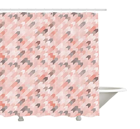 Light Pink Shower Curtain By Yeuss Conceptual Arrows Pattern Chevron Inspired Vintage Diagonally Striped