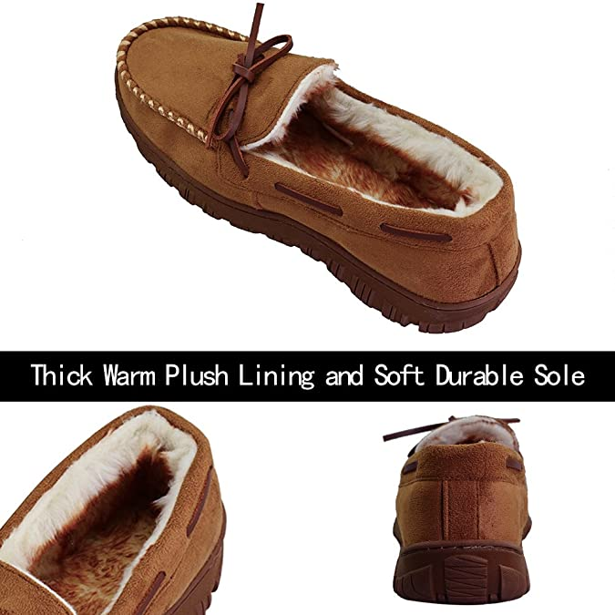 Men's Thick Plush Lining Microsuede Indoor Outdoor Slip On Moccasin Slippers  (FBA): Amazon.ca: Shoes & Handbags