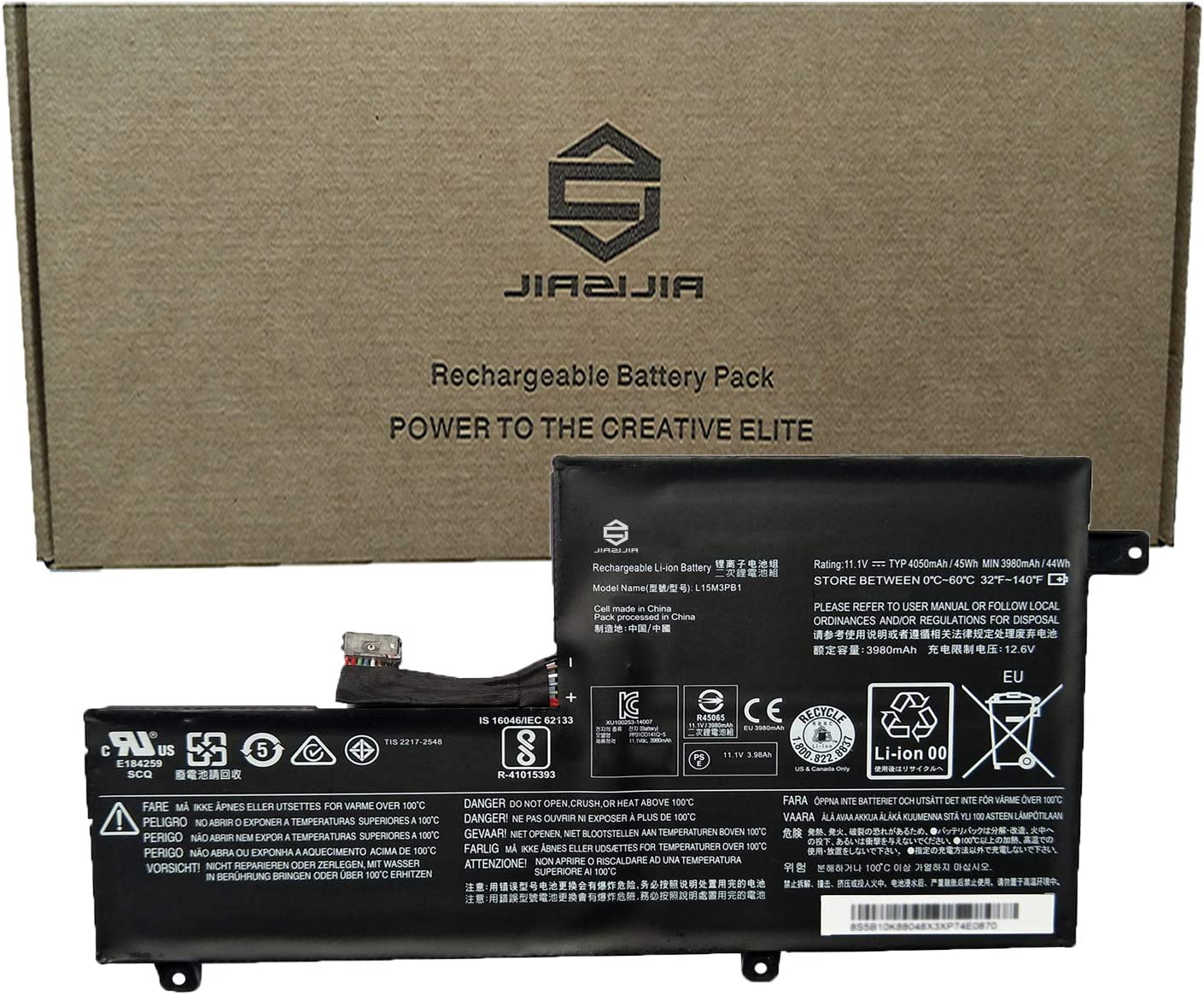 JIAZIJIA L15M3PB1 Laptop Battery Replacement for Lenovo N22 N22-10 N22-20 N22 Touch N23 N23 Touch N23 Yoga N42 N42-20 Chromebook C330 S330 Series Notebook L15L3PB1 11.1V 45Wh 4050mAh