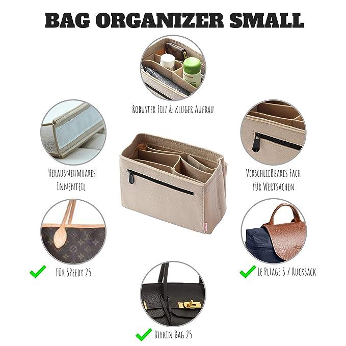 Classic Slash Organizador de bolso - Bag organizer con cremallera - Bag organizador de mujer - Bag In Bag - Fieltro - Beis - Pequeño - para bolsas fuera ...