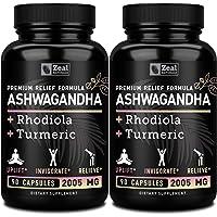 [2-Pack] Premium Ashwagandha Complex - Organic Ashwagandha + Rhodiola Rosea + Turmeric - 100% Pure Ashwagandha Extract…
