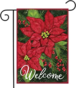 """Briarwood Lane Holiday Poinsettia Christmas Garden Flag Welcome Floral 12.5""""x18"""""""