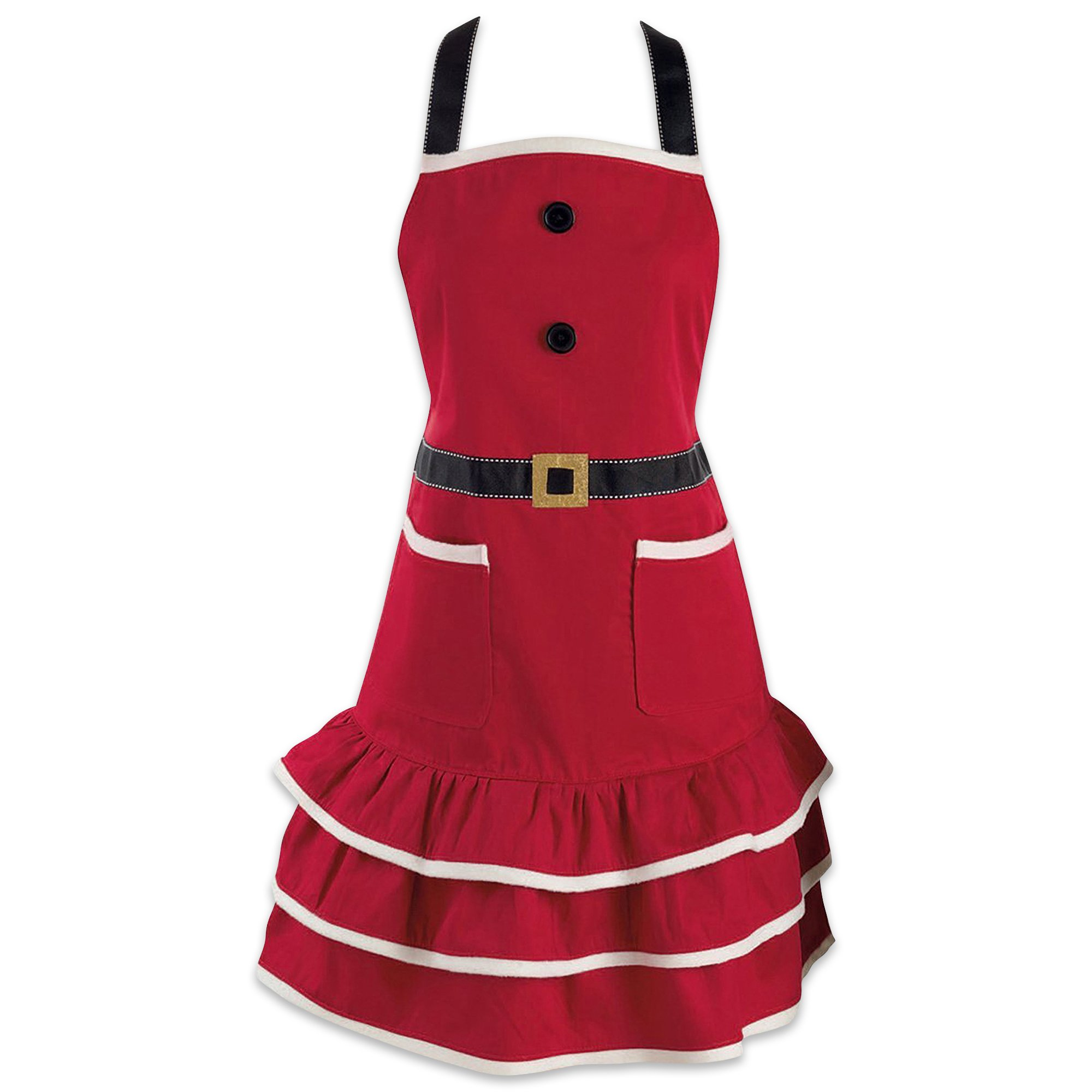 DII Cotton Chistmas Kitchen Apron with Pocket and Extra Long Ties, 29.5 x 24, Cute Women Ruffle Apron for Holidays, Hostee and Housewarming Gift-Mrs. Claus by DII (Image #1)
