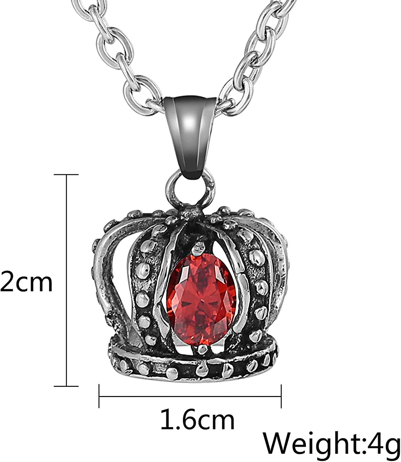 LOPEZ KENT Stainless Steel Necklace for Men Pendant Crown Oval Red//Black//White//Purple Cubic Zirconia Necklace Pendant Silver
