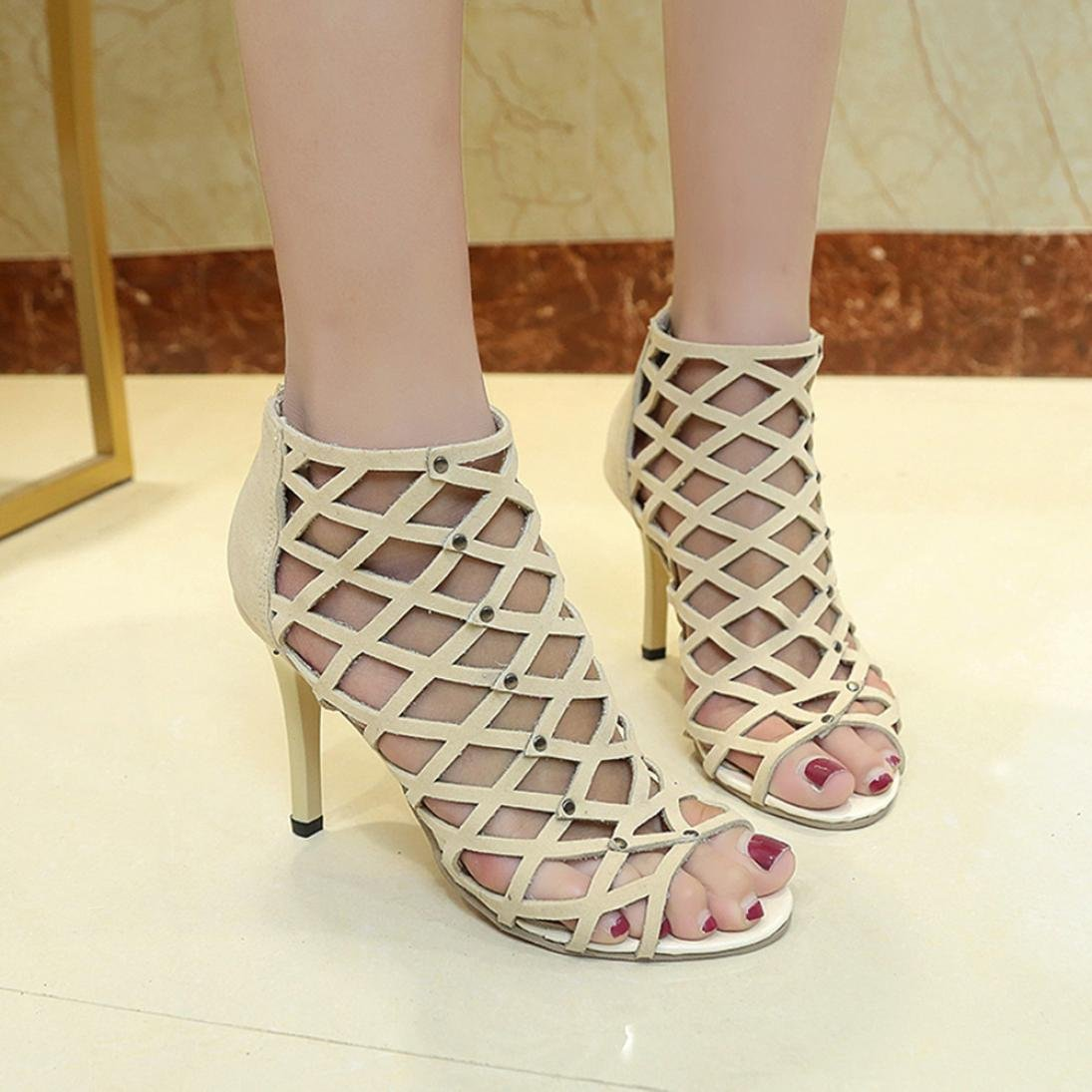 6020fc67f03 OverDose Women s Fashion Peep Toe High Heels Shoes Rivet Roman Gladiator  Sandals  Amazon.co.uk  Clothing