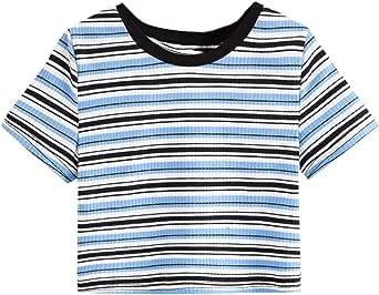 Milumia Girl Casual Striped Short Sleeve Crop Top Ribbed Knit Crewneck Tee Shirt