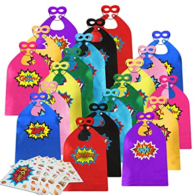 ADJOY Kids Superhero Capes and Masks 20 Sets Pack with Large Stickers - Superhero Themed Birthday Party Capes: Toys & Games