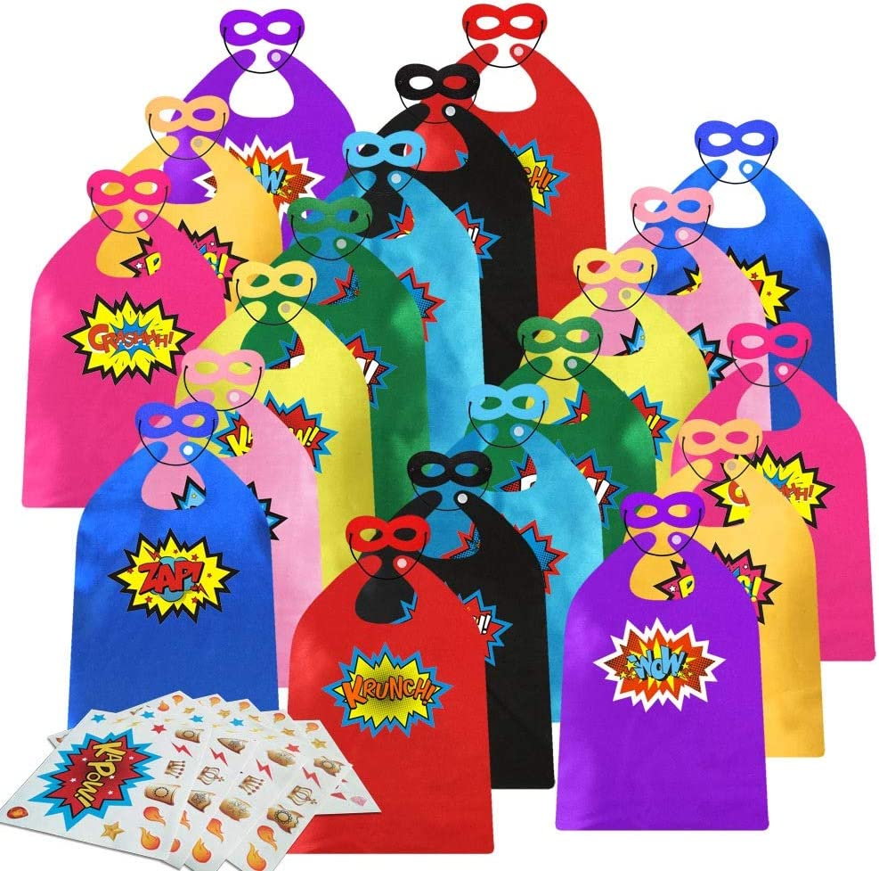 ADJOY Kids Superhero Capes and Masks 20 Sets Pack with Large Stickers - Superhero Themed Birthday Party Capes