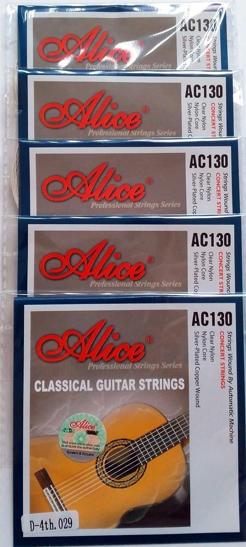 5x guitarra clásica cuerdas sola persona D 4ª cuerda Nylon tensión Normal