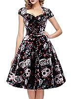 OTEN Women's Floral Sugar Skull Cap Sleeve Sewing Casual Retro Party Rockabilly Dress