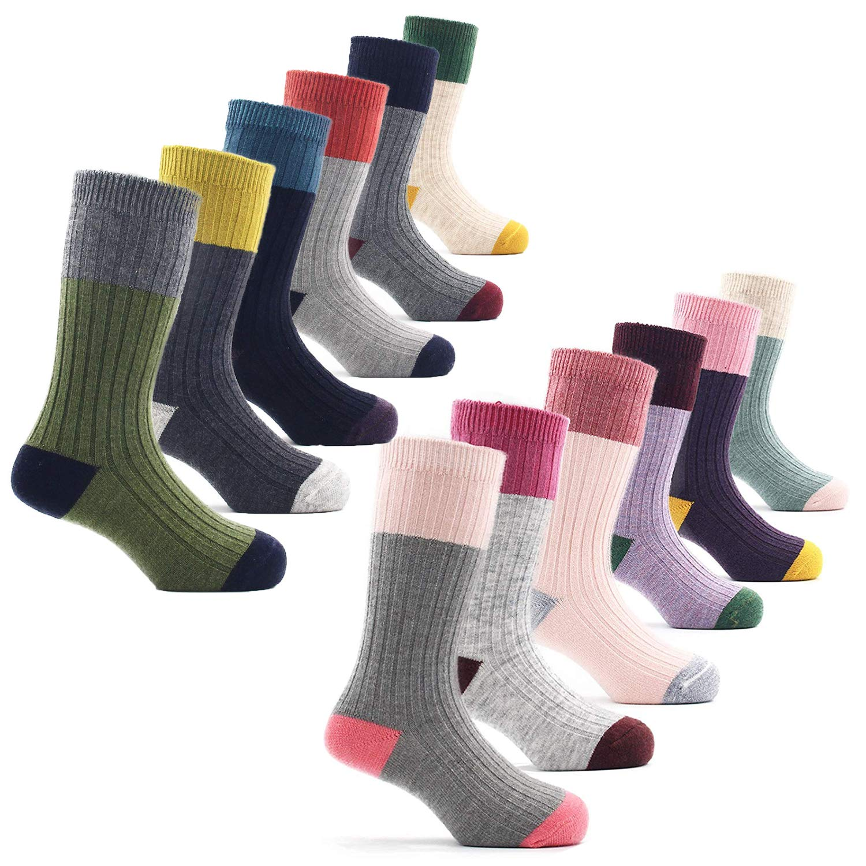 Boys Wool Socks Kids Winter Warm Thermal Crew Socks 6 Pack