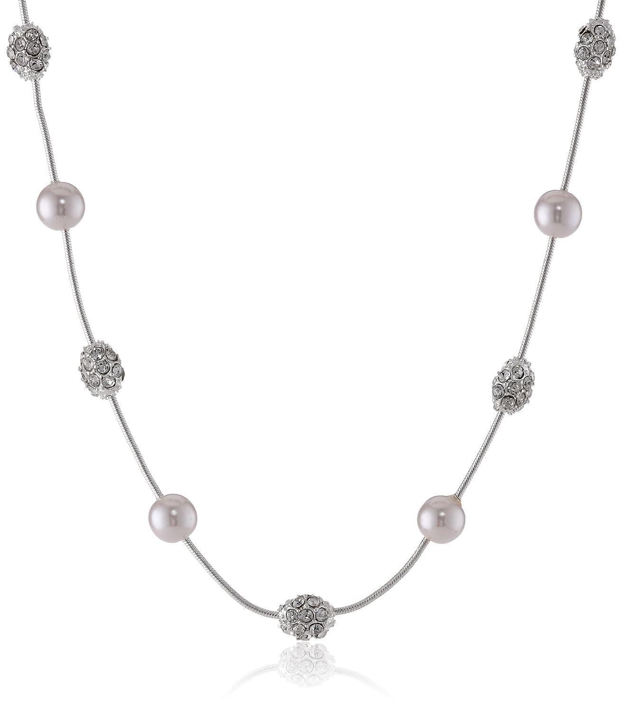 Anne KleinClassics Silver-Tone Cream Pearl Fireball Necklace, 19 19 60163751-G03