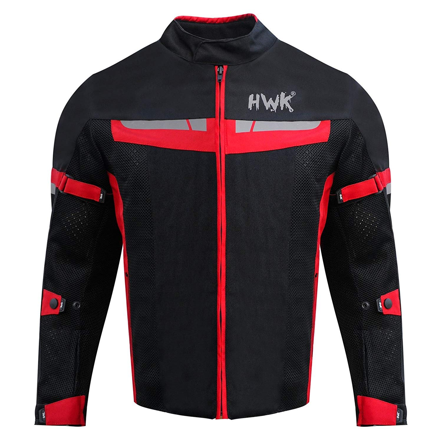 HWK Mesh Motorcycle Jacket Riding Air Motorbike Jacket Biker CE Armored Breathable (XXXX-Large, Red)
