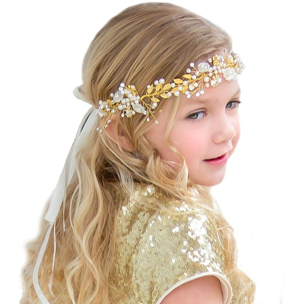 Petite Adele Girls Satin Gold Embellishments Hair Wreath Tiara
