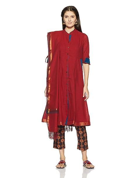 334737a1f5b BIBA Women s Straight Salwar Suit Set  Amazon.in  Clothing   Accessories