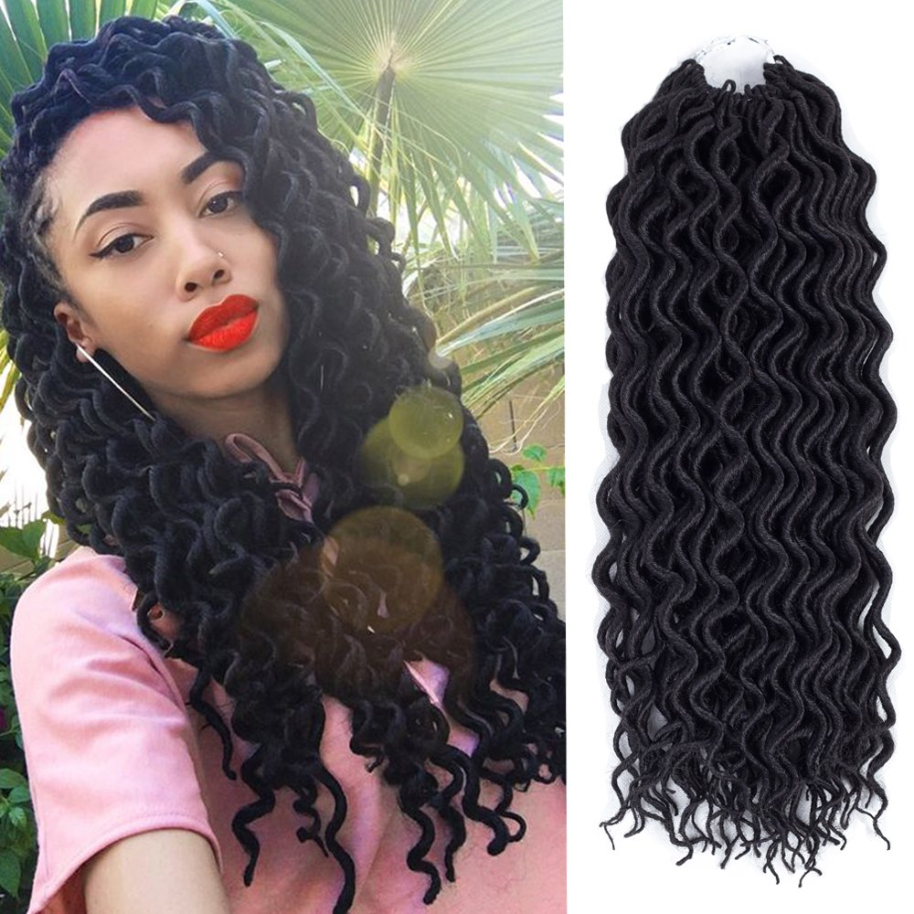 (6Packs)18inch Curly Faux Locs Soft Hair Deep Faux Locs Twist Braids Goddess Locs Crochet Braiding Hair Braids Mambo Hair Extension 24Roots/Pack (18inch, 1B#)