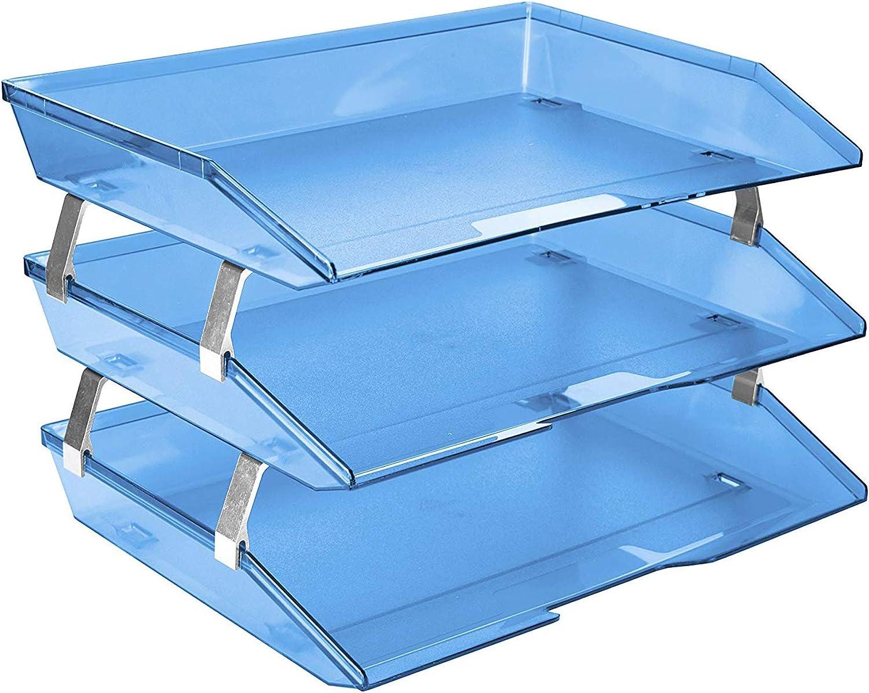 Acrimet Facility 3 Tier Letter Tray Side Load Plastic Desktop File Organizer (Clear Blue Color)