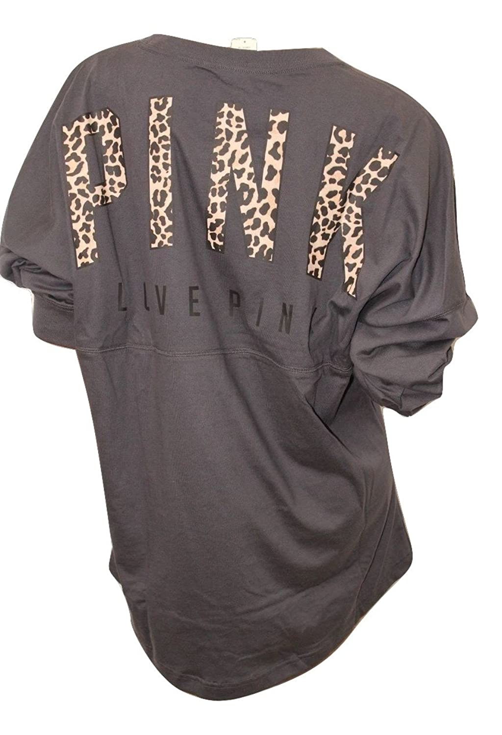 Victoria's Secret Pink New Oversize Animal Print Leopard Varsity Crew Dark Gray (X Small) by Vs Pink