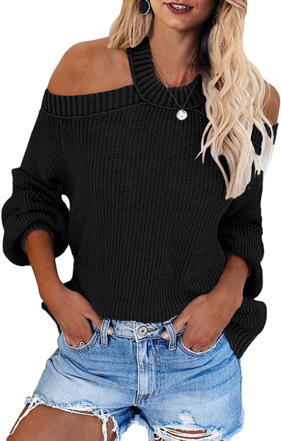 SDHEIJKY Women Cold Shoulder Tops Shirts O Neck Batwing Sleeve Causal Shirts