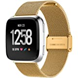 MEFEO Metal Mesh Bands Compatible with Fitbit Versa, Stainless Steel Band Strap with Secure Buckle Wristbands Accessories Replacement for Fitbit Versa/Versa 2/Versa Lite/SE Women Men