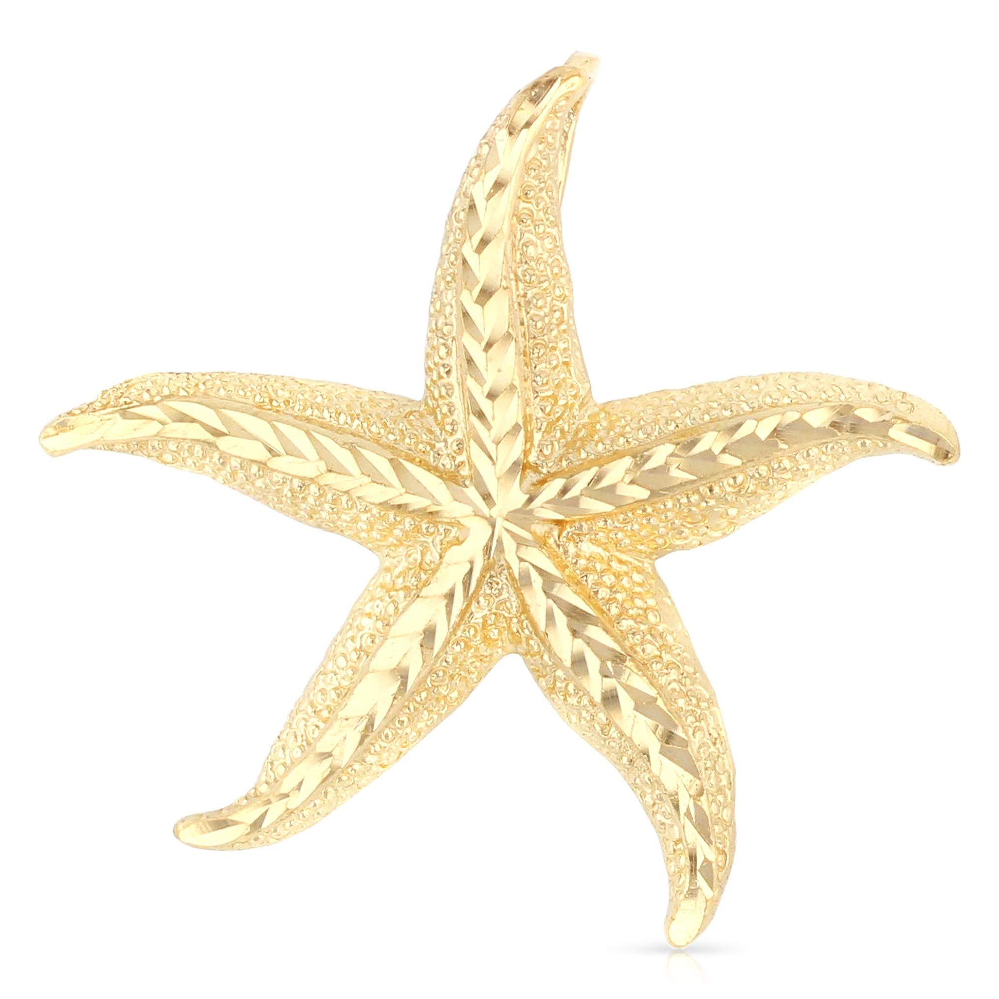 Ioka - 14K Yellow Gold Starfish Charm Pendant For Necklace or Chain by Ioka