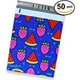 50 Pack of Mighty Gadget (R) Watermelon & Strawberry Designer Poly Mailers - 10x13 inch Shipping Envelopes with 2.35 mil Thickness