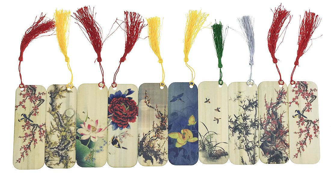 10 PCS Flower and Bird Themed Bamboo Chinese Style Bookmarks for Kids School Study Decoration Souvenirs Business Christmas Birthday GIF by Alrsodl (Image #5)