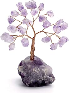 Top Plaza Amethyst Reiki Healing Crystals Copper Money Tree Wrapped On Raw Natural Fluorite Base Crystal Home Office Desk Tree Decor Feng Shui Luck Figurine Statue Mini Sized