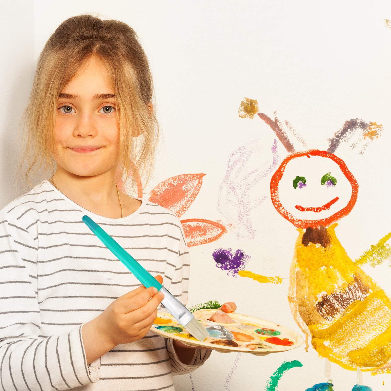 16 Piezas de Pinceles de Punta de Cerda Plana Grande con Mango de Pl/ástico para Pintura de Ni/ños Artistas 8 Colores