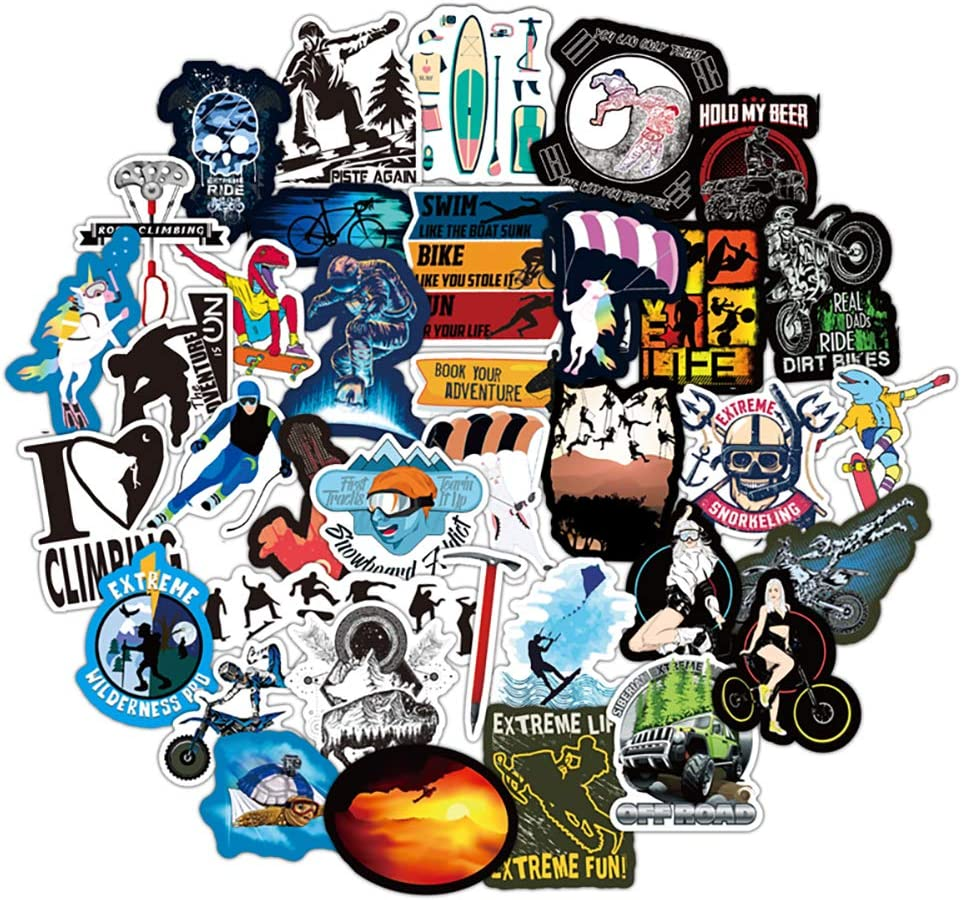 Water Bottle Extreme Sports Stickers Laptop Stickers Pack 50 Pcs Decals for Water Bottle Laptops Ipad Cars Luggages