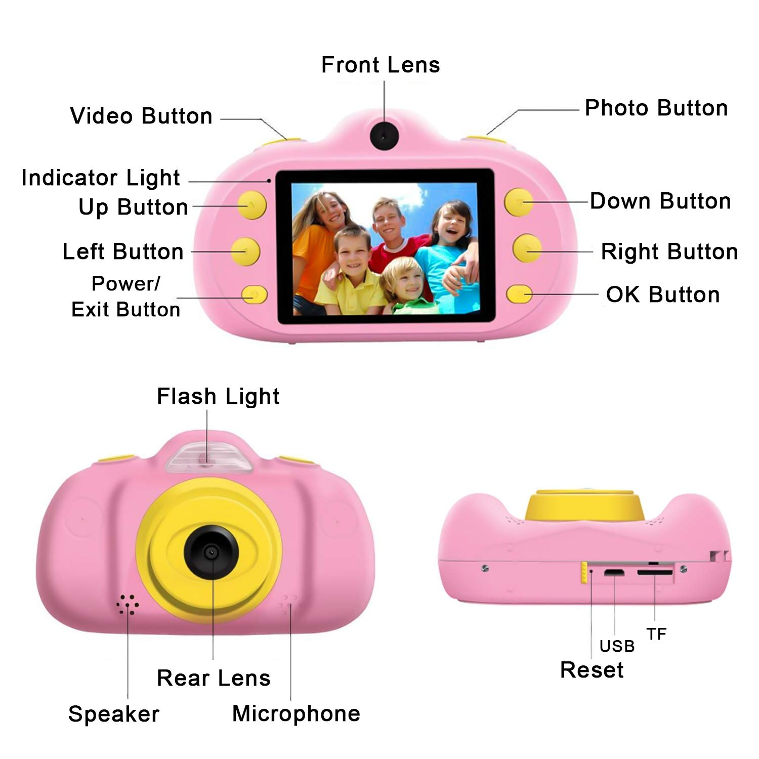 [NEW]2.4'' Kids Camera 12MP Kid Gift Toy DUAL Lens Camera 3-10 Years Girl boy HD 1080P Selfie Camera Mini Child Digital Camcorder with Puzzle Game,MP3 Kid Outdoor Camera Birthday Gift[Free 16G SD Card] by Camlinbo (Image #7)