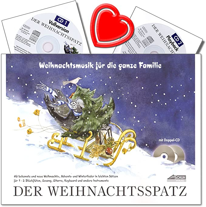 Der Weihnachtsspatz Autor Karin Schuh Winter Advents Und Weihnachtslieder Für 1 2 Blockflöten Und Gesang Mit Akkordbezifferung 2 Cds Und Bunter Herzförmiger Notenklammer Musikinstrumente