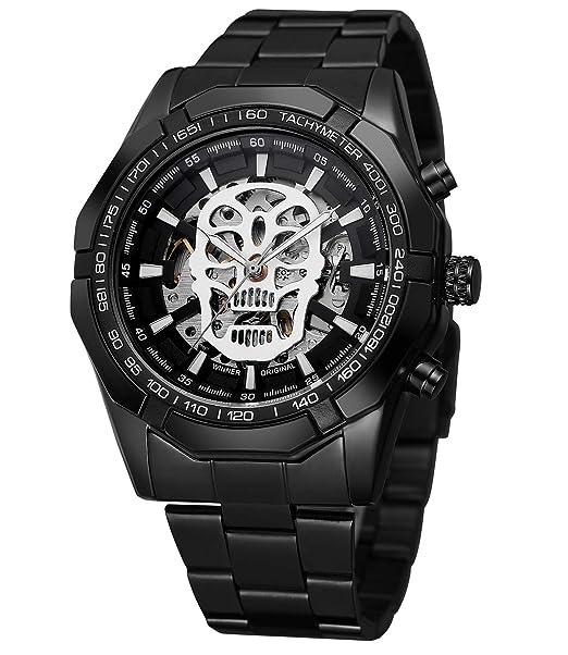9528ac556893 Sweetbless Reloj de Pulsera mecánico para Hombre con Calavera Tallada y  manecillas Luminosas analógicas  Amazon.es  Relojes
